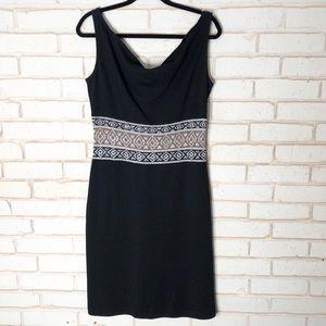 St John Black Knit Shift Tank Dress Sz 10
